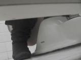 トイレ_素人_お銀さんの洗面所突入レポート!!vol.63_あれ?チラっチラって。気づいてます?前編_盗撮_覗き_中村屋_07